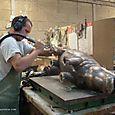 Hippopotame bronze ciselure