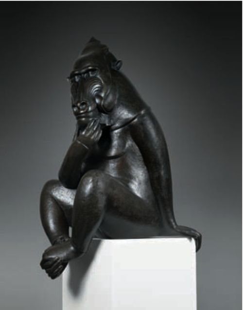 Mandrill bronze Florence Jacquesson
