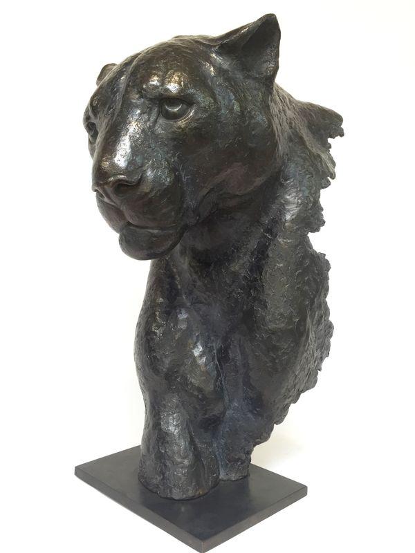 fragment de panth re noire en bronze florence jacquesson sculpteur animalier. Black Bedroom Furniture Sets. Home Design Ideas