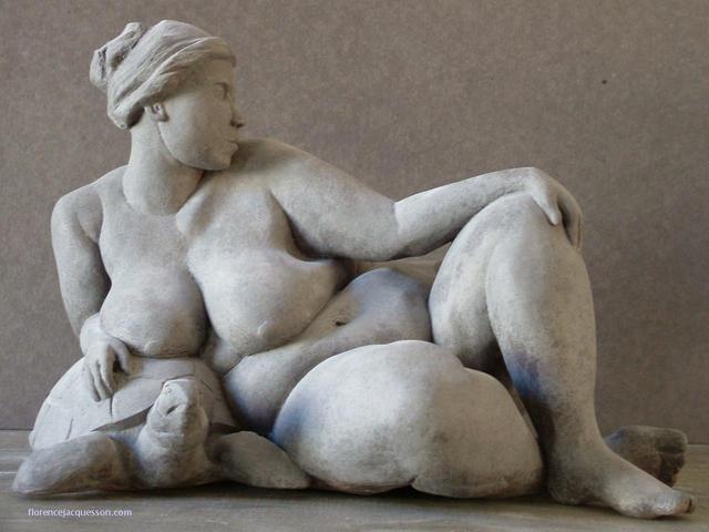 Femme nue sur Tortue - La Paresse