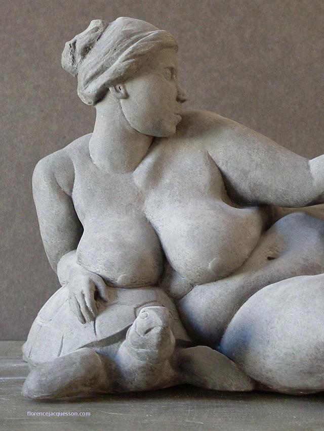 Femme nue sur Tortue - La Paresse (détail)